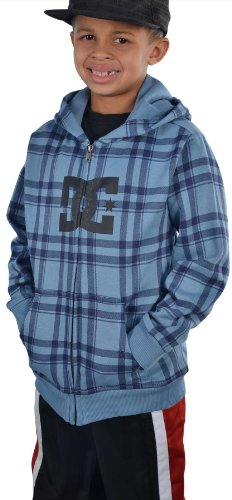 Dc Shoes Boys' (2T-7X) T-Star Plaid Zip Up Hoodie-Blue/Navy-4T front-946951