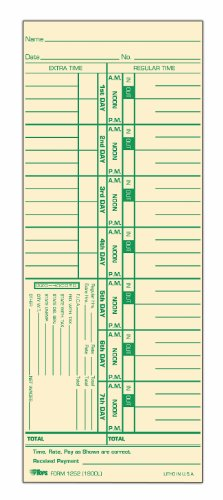 TOPS Weekly Time Cards, Green Ink Front, 3.5 x 9 Inches, 500-Count, Manila (1252)