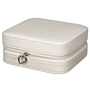 white faux leather travel jewelry case with