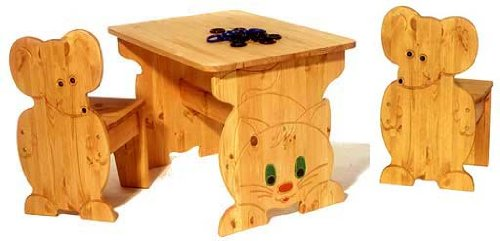 Kindersitzgruppe Katz und Maus – Kiefer Massivholz aus nachhaltiger Forstwirtschaft kaufen