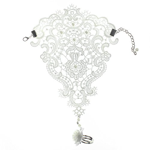 Elegant Faux Pearl Lace Hollow Out Wedding Bridal Glove Bracelet With Ring New