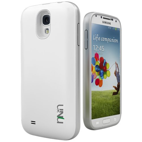Unu Unity Samsung Galaxy S4 Battery Case [White/Silver] - External Slim Protective Battery Case Cover For Samsung Galaxy S4 Compatibles With All Models Samsung Galaxy S4 I9500