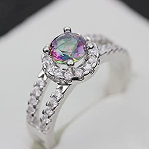 Master Jiwelry Rainbow Topaz Statement White Zircon Ring Lovers with Simulated G Colored Stones J510