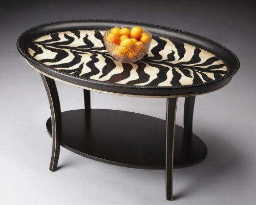 Butler Specialty Oval Cocktail Table Zebra Stripe Finish   1591191