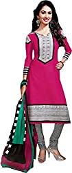 Deeptex Women's Unstitched Salwar Suits (Pink_Free Size )