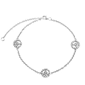 Bling Jewelry Peace Sign CZ Pave Anklet Ankle Bracelet 925 Sterling Silver 9in