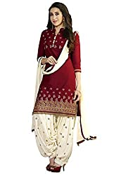 Craftliva Maroon & Off White Printed Polly Cotton Dress Material
