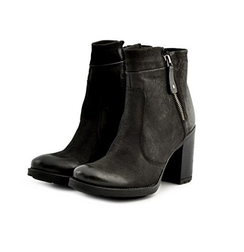 Scarpe stivaletti tronchetti donna Manas numero 38 152M0501IXNERO in pelle nera con tacco