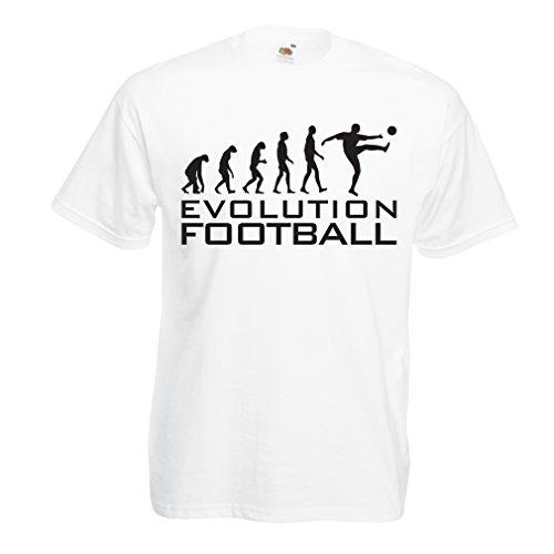 N4466 T-shirt da uomo The Evolution Football (Medium Bianco Nero)