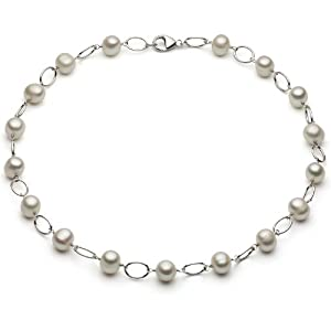 """Sterling Silver 7-8mm White Freshwater Cultured Pearl Oval Link Necklace 18"""" Length with Lobster Clasp."""