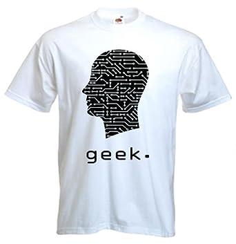 Geek Circuit Board Head T-Shirt (9 couleurs au choix) (XL, Blanc)