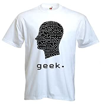 Geek Circuit Board Head T-Shirt (9 couleurs au choix) (XL, Blanc)