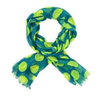 Cozzy Land Big Polka Dotted Scarf-Green-30 inches wide x 70 inches long
