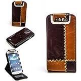 Original Numia Luxus Flip Case Handy Tasche für Samsung i9190 i9195 Galaxy S4 SIV mini Braun Coffee Multifunktion Cover Hard Case Schutz Hülle Etui Aufsteller Gehäuse NEU