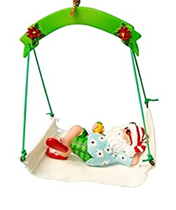 Christmas Ornament Santa in Hammock with Flip Flops and Hat