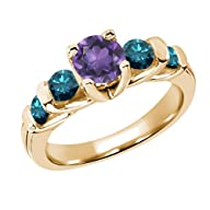 1.63 Ct Round Purple Amethyst Blue Di…