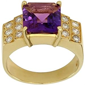 Amethyst Diamond Ring With 4.48cts Square Amethyst And Fine Diamonds In 18K Yellow Gold Diamond Amethyst Ring - 7