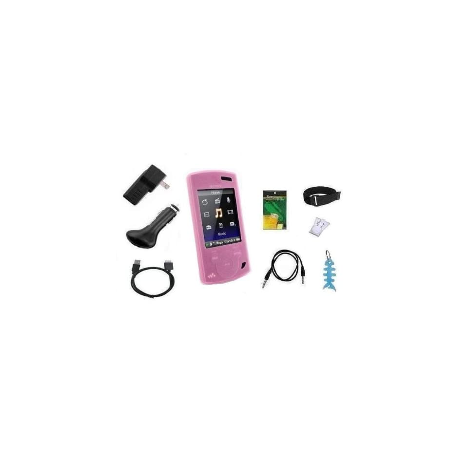 9 Items Accessory Combo Kit for Sony Walkman S Series Video  Player (NWZ S540, NWZ S544 and NWZ S545) Includes (Pink) Silicone Skin Case Cover, LCD Screen Protector, Armband, Belt Clip, USB Wall Charger, USB Car Charger, 2in1 USB Cable, 3.5mm Auxillary
