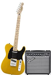 Squier by Fender Tele Electric Guitar Pack w/ Frontman 15G, Butterscotch Blonde