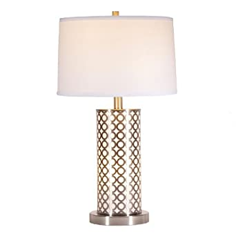 Silver over white contemporary table lamp with night light for Living room lamp shades