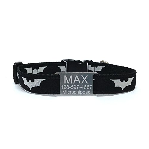 happypettag Pet Collar - Dark Knight Design Personalized Dog Collar, Batman dog Collars 3/4
