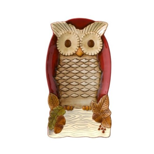 Grasslands Road Crimson Hallow Owl Cheese Tray With Stand # 469444