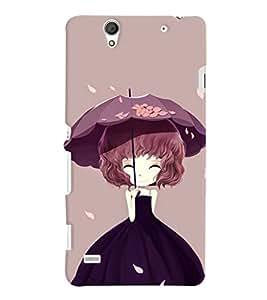 Printvisa Animated Girl Holding Umbrella Back Case Cover for Sony Xperia C4 Dual E5333 E5343 E5363::Sony Xperia C4 E5303 E5306 E5353
