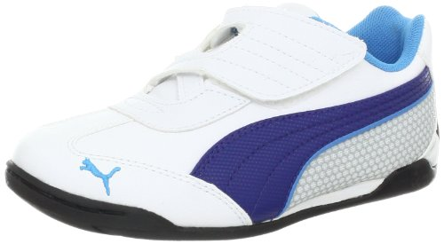 PUMA Delor Cat SL V Fashion Sneaker (Infant/Toddler/Little Kid/Big Kid),White/Twilight Bluee/Malibu Blue,8 M US Toddler