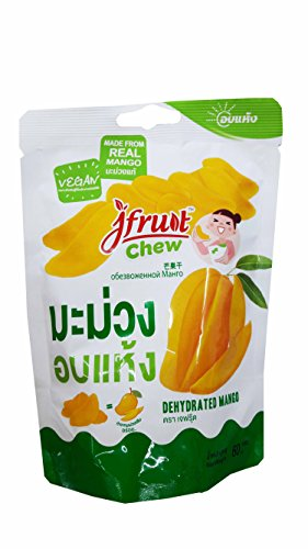 2 packs of Dehydrated Mango, made from real mango, delicious Snack from Jfruit Brand. GMP & HACCP and BRC certified company. (60 g/ pack)