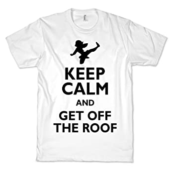 Get Off The Roof Crewneck T-Shirt (White, Size XL)