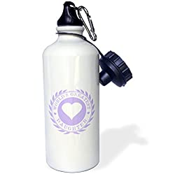 3dRose wb_165013_1 Worlds Greatest Daughter Award Lilac Purple Fun Family Love Gifts Sports Water Bottle, 21 oz, White