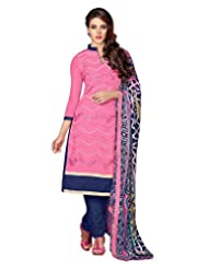 Surat Tex Pink Color Wear Chanderi Cotton Un-Stitched Dress Material