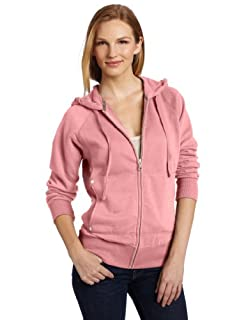 Dickies Women's Zip Hoodie Shirt With Rib Knit, Rose Dust, Large