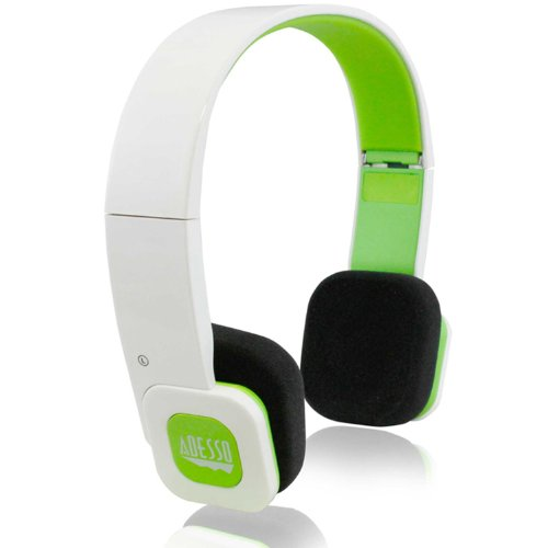 Adesso Bluetooth 3.0 Portable And Foldable Headphone With Microphone For Smartphones, Iphone, Ipad With Ios Battery Indicator - Retail Packaging - White/Green