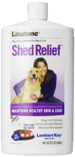 Lambert Kay Linatone Shed Relief Skin and Coat Liquid Supplement for Dogs and Cats, 32-Ounce