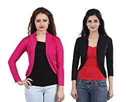 Trendy combo of Pink & Black Short Shrugs by Bfly
