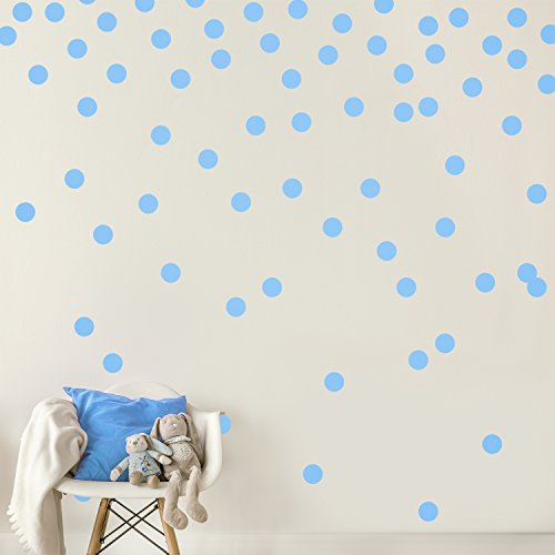 Light Blue Wall Decal Dots (200 Decals) | Easy Peel & Stick + Safe on Walls Paint | Removable Matte Vinyl Polka Dot Decor | Round Circle Art Glitter Sayings Sticker Large Paper Sheet Set Nursery Room (Light Blue Wall Paint compare prices)