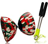 Diabolo Harlequin by Mr Babache & Diablo Sticks & Diabolo String. Red/White/Green