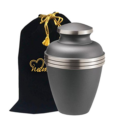 Ashen Pewter Cremation Urn by Memorials4u for Human Ashes - Brass Urn - Adult Funeral Urn Handcrafted - Affordable Urn for Ashes - Large Urn Deal (Urn Pewter compare prices)
