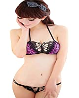Imprimé léopard papillon de soutien-gorge et slip pourpre réglé lingerie sexy des femmes
