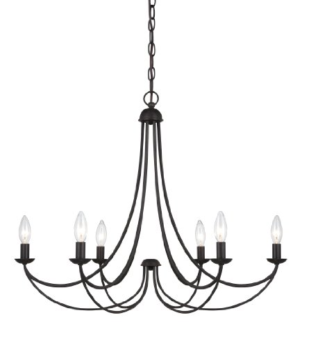 B006Y7XX98 Quoizel MRN5006IB Mirren 6 Light 23-Feet H. Chain Hung Chandelier