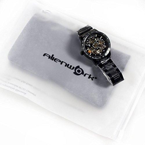Alienwork IK mechanische Automatik Armbanduhr Skelett Automatikuhr Uhr schwarz Edelstahl 98226G-A 7