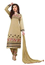 Suchi Fashion Beige Embroidered Cotton Dress Material