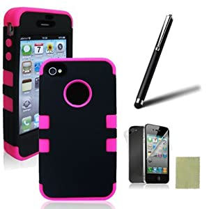 SQdeal® 3-PIECE HYBRID HIGH IMPACT HARD CASE FOR IPHONE 4 4S+STYLUS+F&B PROTECTOR (Pink&Black)