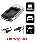 Invero USB Slim Camera Charger + Car Charger with Battery for Sony Cyber-shot DSC-H55