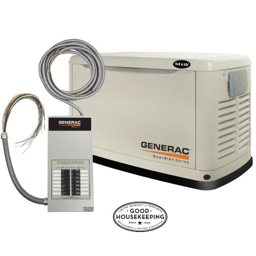 Generac Guardian Series 5872 14,000 Watt Air-Cooled Liquid Propane/Natural Gas Powered Standby Generator With Transfer Switch (CARB Compliant)