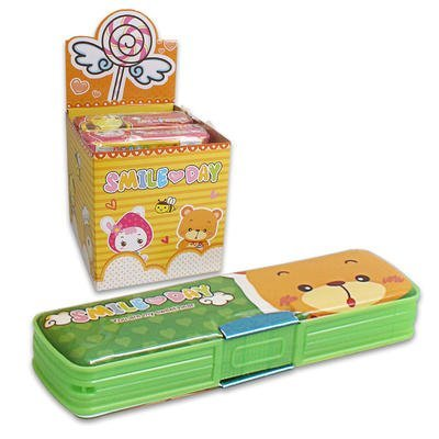 "1 piece of 8""L Assorted Colors PLASTIC DOUBLE SIDED PENCIL CASE"