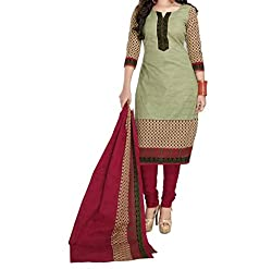 Look Smart Women's Polycoton Unstitched Dress Material (RED MANGO_Multicolor_Free Size)