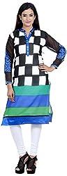 Amafhh Women's Georgette Regular Fit Kurta (amfkr7526black, Multi-colour, XX-Large)