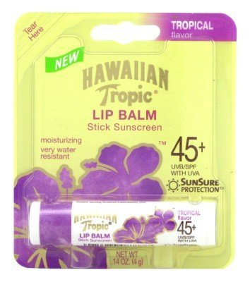 Hawaiian Tropic Lip Balm Stick Sunscreen Tropical Flavor SPF 45 Pack of 48